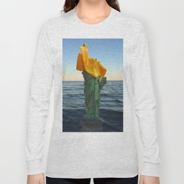 """Imported Woman, a piece of """"American"""" """"Cheese"""" Long Sleeve T-shirt"""