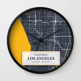Los Angeles California with GPS Coordinates Wall Clock