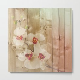 Orchid Flowers & Wood Collage Metal Print