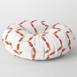 Red Japanese Maple Tree Samara Stitch Looking Pattern In Alternate Orientations Floor Pillow