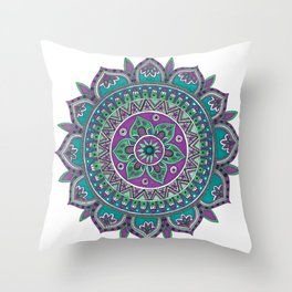 Purple and Green Mandala Art Throw Pillow