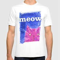 Crayon Cat White MEDIUM Mens Fitted Tee
