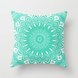 Minimal Aqua Seafoam Mint Green Mandala Simple Minimalistic Throw Pillow