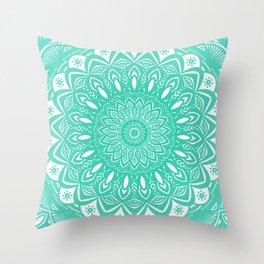 Minimal Aqua Seafoam Mint Green Mandala Simple Minimalistic Throw Pillow