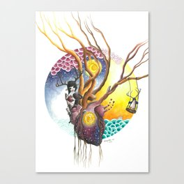 Antlered Girl and Penguin with Heart and Trees, Sun, Moon, Sky and Ocean. Canvas Print