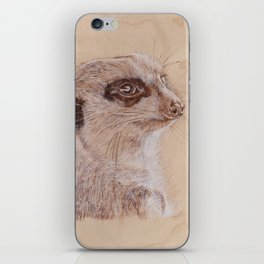 Meerkat Portrait - Drawing by Burning on Wood - Pyrography Art iPhone Skin