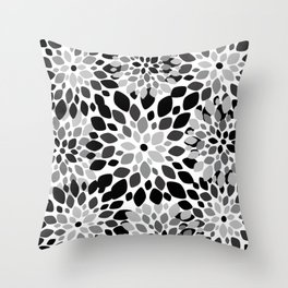 Black and White Burst Throw Pillow