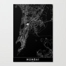 Mumbai Black Map Canvas Print