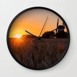 North German windmill from old time in the sunset Wall Clock