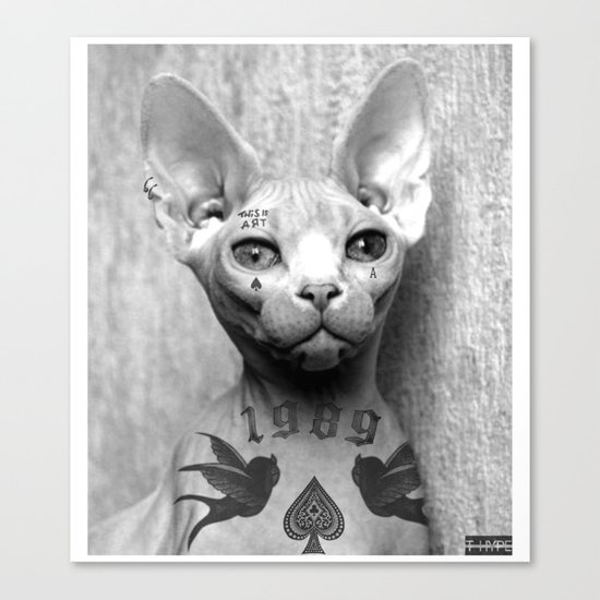Tattoo cat Canvas Print