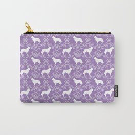 Golden Retriever floral silhouette dog silhouette lilac and white minimal basic dog lover art Carry-All Pouch