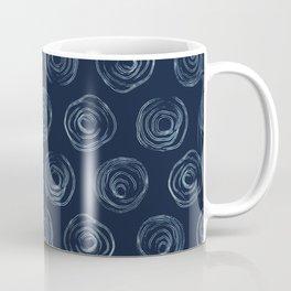 Circle Indigo Pattern Dye Hand Drawn Grunge Spiral Coffee Mug