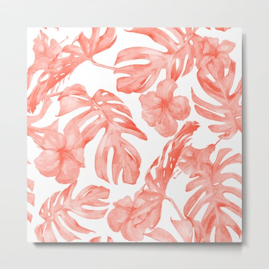 Tropical Hibiscus and Palm Leaves Dark Coral White Metal Print