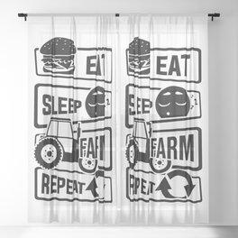 Eat Sleep Farm Repeat - Farmer Farmyard Farm Sheer Curtain
