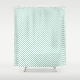 Honeydew and White Polka Dots Shower Curtain