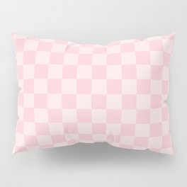 Large Light Millennial Pink Pastel Color Checkerboard Pillow Sham