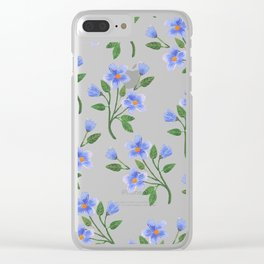 Blue Florals Clear iPhone Case