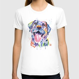 Black Lab Colorful Watercolor Pet Portrait Painting T-shirt