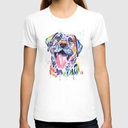 Black Lab Colorful Watercolor Pet Portrait Painting T-shirt