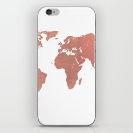 Faux Rose Gold World Map iPhone Skin