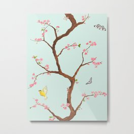Jenny Chinoiserie on mint Metal Print