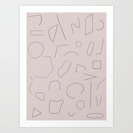 Skinny Shapes Lilac Art Print