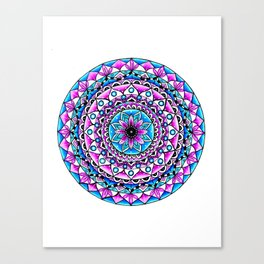 Mandala #2 Wall Tapestry Throw Pillow Duvet Cover Bright Vivid Blue Turquoise Pink Contempora Modern Canvas Print