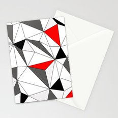 Geo - red, gray, white and black Stationery Cards