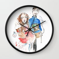laura palmer Wall Clocks featuring Laura  by Katja Main
