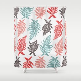 Inked Ferns – Red & Green Palette Shower Curtain