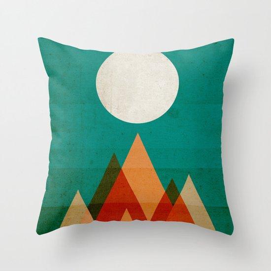 Full moon over Sahara desert Throw Pillow