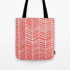 Coral Herringbone Tote Bag