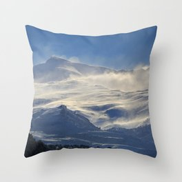 """""""Brave mountains"""". Into the windy storm Throw Pillow"""