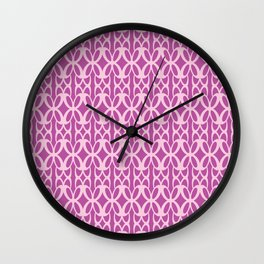 Mod Geometric Floral in Fuchsia Wall Clock