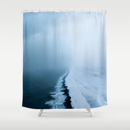 Infinite and minimal black sand beach in Iceland - Landscape Photography Shower Curtain