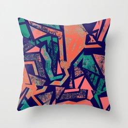 Peacock Cubist Throw Pillow