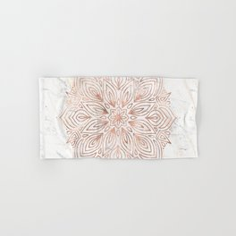 Mandala Rose Gold Quartz on Marble Hand & Bath Towel