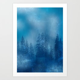 Blue Magical Forest Art Print