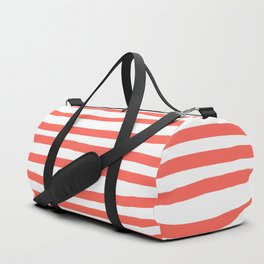 Hand Drawn Stripes Living Coral Duffle Bag