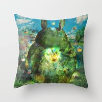 calcifer Throw Pillows featuring best neighbor  by ururuty