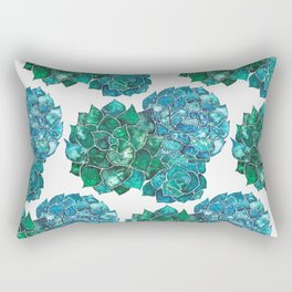 Succulents in green and blue Rectangular Pillow
