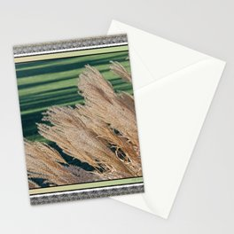 MISCANTHUS SINENSIS YAKU JIMA SEEDHEADS AND GREEN LAWN SHADOWS  Stationery Cards