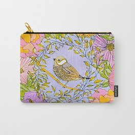 Spring Chickadee in Flowery Woodland Wreath Carry-All Pouch