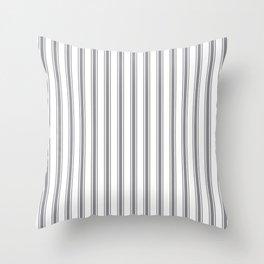 Gray blue ticking stripes Throw Pillow