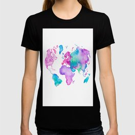 Modern world map globe bright watercolor paint canvas print by modern world map globe bright watercolor paint t shirt gumiabroncs Images