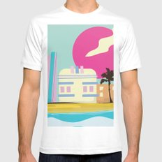 Retro 1980s Miami cartoon seafront White 2X-LARGE Mens Fitted Tee