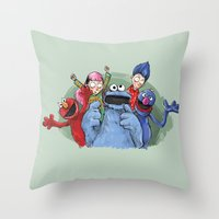 cookie monster Throw Pillows featuring cookie monster by ErsanYagiz