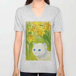 Louis Wain - Cat And Daffodils - Digital Remastered Edition Unisex V-Neck