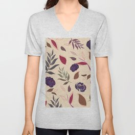 Simple and stylized flowers 19 Unisex V-Neck