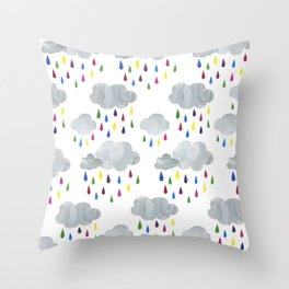 Rainbow Rain Clouds Throw Pillow